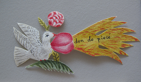 Some letter‐writers added enclosures, such as this colored paper dove, which bears the French inscription don de piété ('gift of piety'), symbolizing the Holy Spirit. ©Signed, Sealed & Undelivered Team, 2015. Courtesy of the Museum voor Communicatie, The Hague, The Netherlands