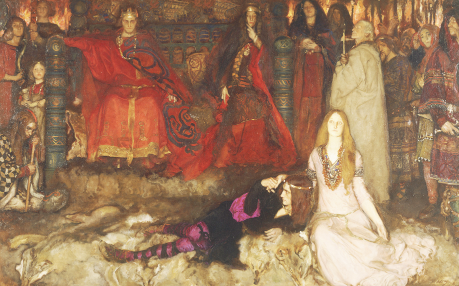 "Edwin Austin Abbey's ""The Play Scene in 'Hamlet'"" (Act III, Scene 2), 1897. (Edwin Austin Abbey Memorial Collection, Yale University Art Gallery)"