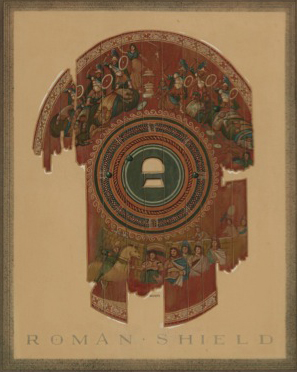 "Herbert J. Gute, ""Wooden Shield with Scenes from the Trojan War,"" 1935 or 1936. Watercolor on paper. Commissioned by Yale University. (Yale University Art Gallery)"