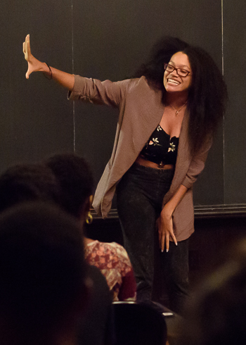 Yale graduate student Alysia Harris performed at the annual Poetry Jam. (Photo by Román Castellanos-Monfil)