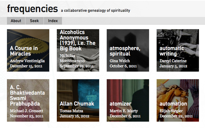 A screenshot of the Frequencies website, with links to articles and essays.