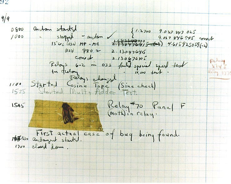 "Hopper's notes with the ""bug"" found inside the MARK II. (Photo courtesy of Navy website)"