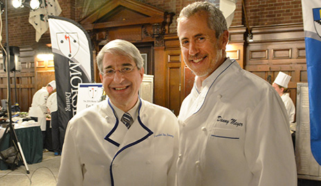 President Peter Salovey is pictured here with Shake Shack owner and CEO of Union Square Hospitality Group Danny Meyer at a Final Cut culinary competition for undergraduates. Meyer has been one of the judges of the annual competition. (Photo by Michael Marsland)