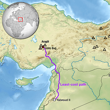 Map showing the most likely path the scraper traveled between Turkey, where the obsidian originated, to Syria, where it was discovered with other Stone Age tools.
