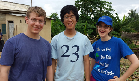 Matthew Griffith '14 (left), Eugene Kim '16 (center), and Margaret Ott '16 (right).