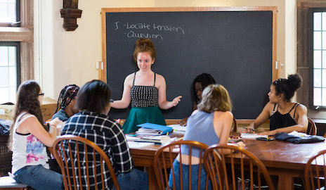 Sophie Dillon '17 teaches a class for CTW. Dillon, a Yale senior, worked as a CTW counselor during the summer and throughout the year. Photo by Mike Marsland.