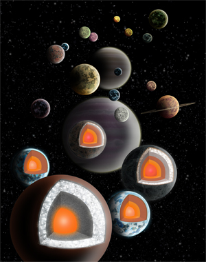 An illustration depicting various planets adrift in space, some bisected to reveal inner diamond cores.