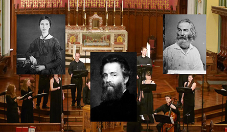 Choral singers and pictures of Whitman, Melville, and Dickinson