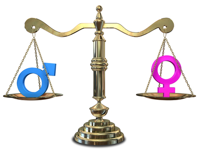 The scales of justice with the male symbol on one side and female symbol on the other.
