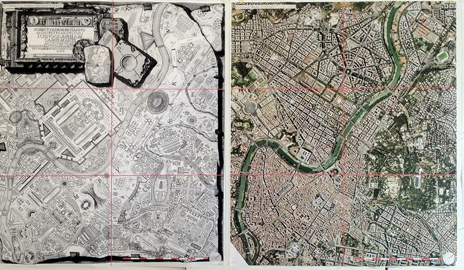 Piranesi's view of the Eternal City, from his Campo Marzio dell'antica Roma; an aerial view of modern Rome (right).
