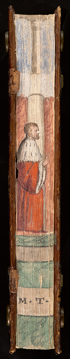 The Roman politician Cicero raises a finger as if making a point in this portrait decorating the fore edge of a collection of his rhetorical works.