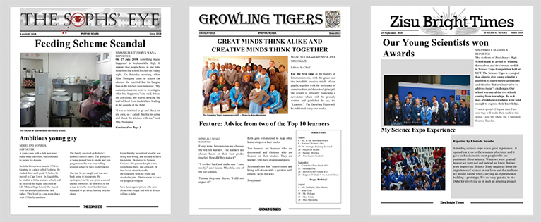 Front covers of a trio of student-run newspapers - The Sophs Eye, the Growling Tigers, and Zisu Bright Times.