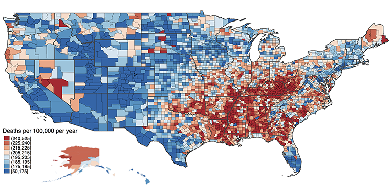 Geographic rates of cancer death in all U.S. counties. The greatest cluster of high cancer death rates are in the states of Kentucky, Tennessee, Alabama, and Mississippi, with other pockets in Nevada, Maine, Michigan, and throughout the rest of the country.