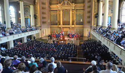 A wide shot of Woolsey Hall packed for a 2019 Baccalaureate Ceremony.