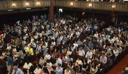 New students, friends, and family gathered at Battell Chapel.