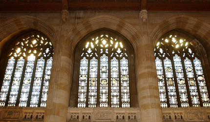 Stained glass windows in Sterling Memorial Library