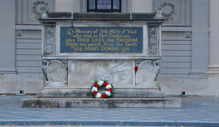 The Yale Alumni War Memorial with a wreath laid at the base.