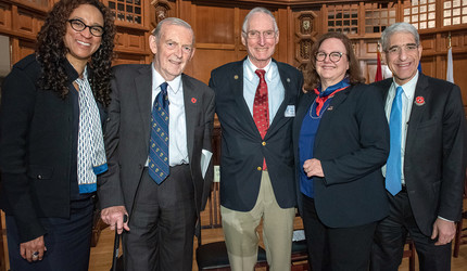 Kimberly Goff-Crews, Paul Kennedy, Thomas J. Opladen '66, Janet Lindner, and Peter Salovey at a Veterans Day ceremony.