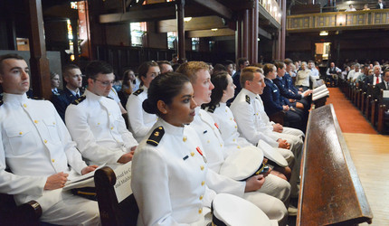 Yale's 2019 ROTC graduates sitting in Battell Chapel on March 20, 2019.