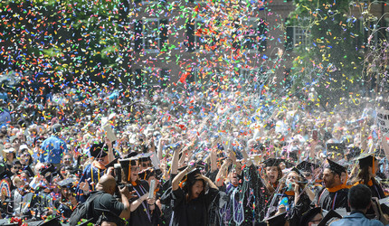 Confetti flies at Yale Commencement 2019