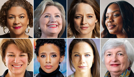Faces of eight women speaking at the event.