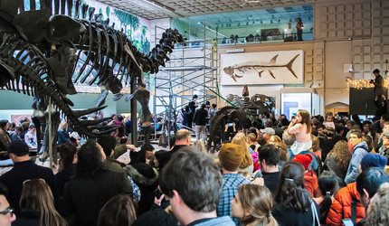 A community celebration in Yale Peabody Museum of Natural History's Great Hall