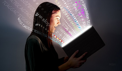 A young woman looks into an open book, and is bombarded by light, math, DNA sequencing, and other data.