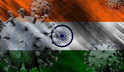 Indian flag with coronavirus.