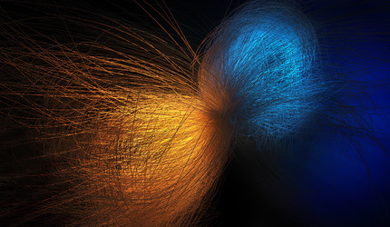 Abstract chaotic background — orange energy colliding with blue energy.