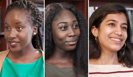 Yale undergraduates Faith Chumo from Kenya, Nana Ama Akowuah from Ghana, and Ruhi Manek from Kenya
