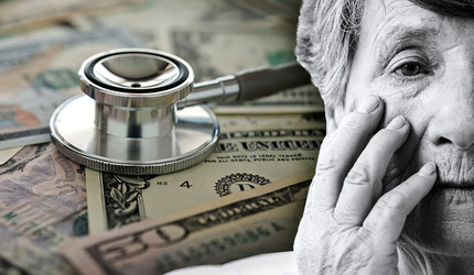 A collage of a stethoscope on a pile of money and an elderly woman touching her face.