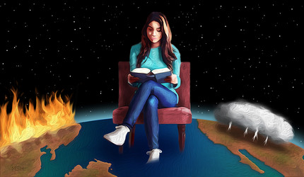 An abstract illustration of a woman calmly reading a book with fire and storms raging across the globe beneath her.