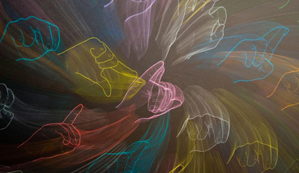 An abstract artwork depicting various manual gestures comprising American Sign Language