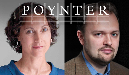 Emily Bazelon '93, LAW '00 and Ross Douthat with Poynter logo