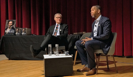 David Blight and Ta-Nahesi Coates on stage at the Yale University Art Gallery.