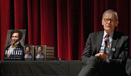 "David Blight at a Dec. 2018 event promoting his book ""Frederick Douglass: Prophet of Freedom"" at Yale."