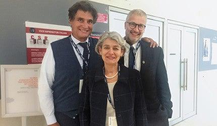 A photograph of Stefano Baia Curioni, Stefan Simon, and Irina Bokova.