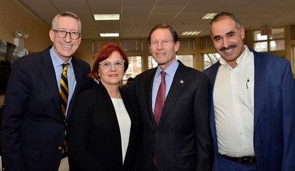 Bruce Barber, Gail D'Onofrio, U.S. Senator Richard Blumenthal and Fuad Abujarad