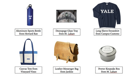 Images of a sports bottle, glass try, sweatshirt,  tote bag,  messanger bag, and keepsak box.