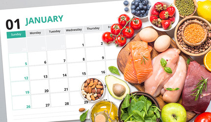 Keto friendly foods on a calendar