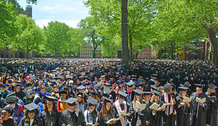 The crowd filling in Old Campus on the Yale University campus during the 2018 Commencement ceremony.