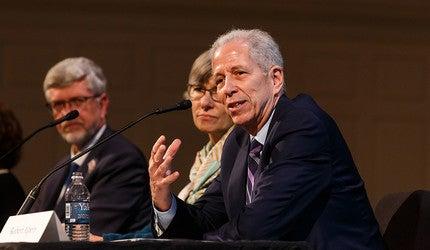 Panel with deans Sten Vermund, Lynn Cooley, and Robert Alpern.