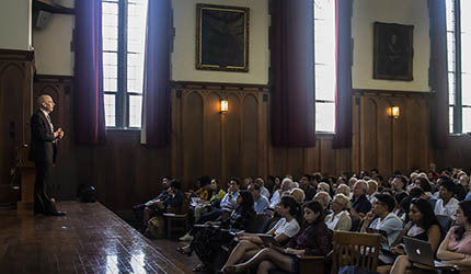 Ian Shapiro delivering a DeVane lecture