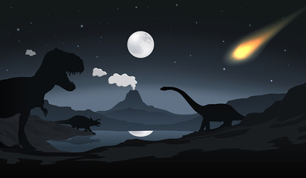 Dinosaur scene with falling asteroid.