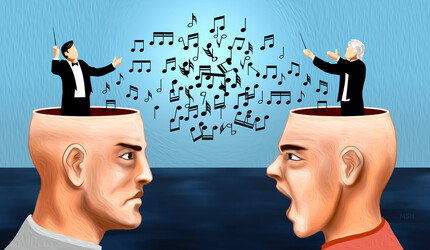 Two people arguing with musical notes crashing in disarray.