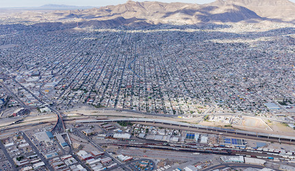 A view across the border from El Paso towards Ciudad Juarez.