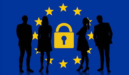 Business people silhouettes standing in front of the EU flag and a data privacy icon.