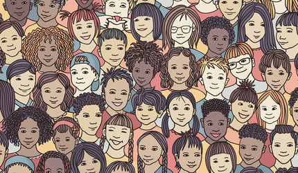 An illustration of diverse children's faces