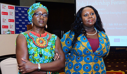 Elizabeth Elango-Bintliff and Ruth Botsio at the Yale Leadership Forum in Accra, Ghana.