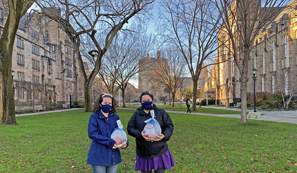 Yale grad students on Cross Campus with turkeys.